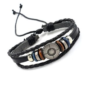 Vintage leather multi-layer alloy rivet beaded handmade bracelet NHHM132255's discount tags