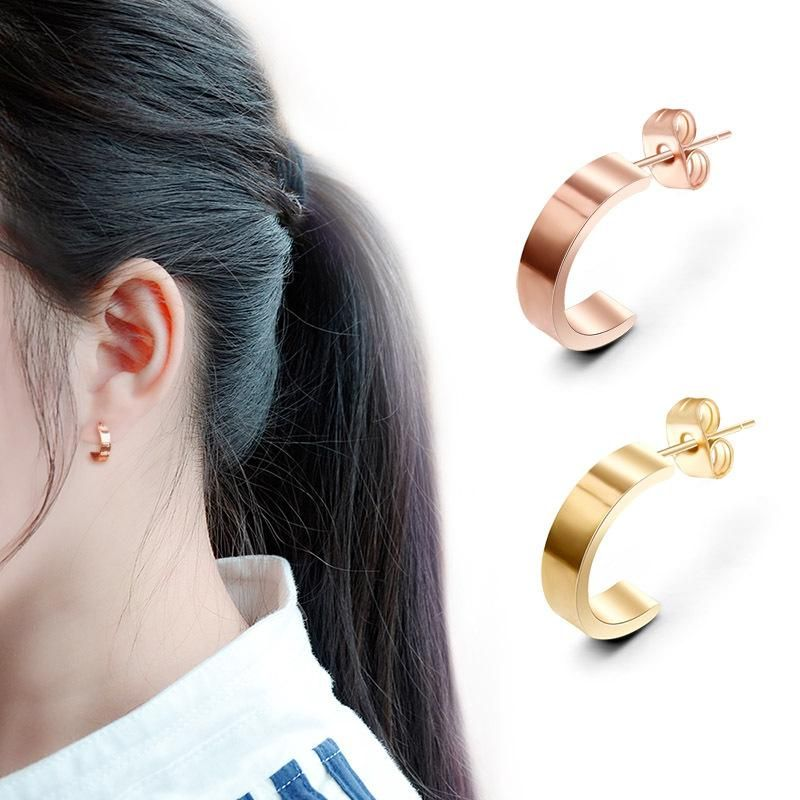 Fashion English alphabet titanium steel screw love earrings NHOK132263
