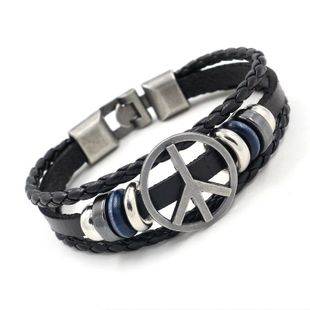 Fashion Peace Sign Studded Leather Bracelet NHHM132264's discount tags