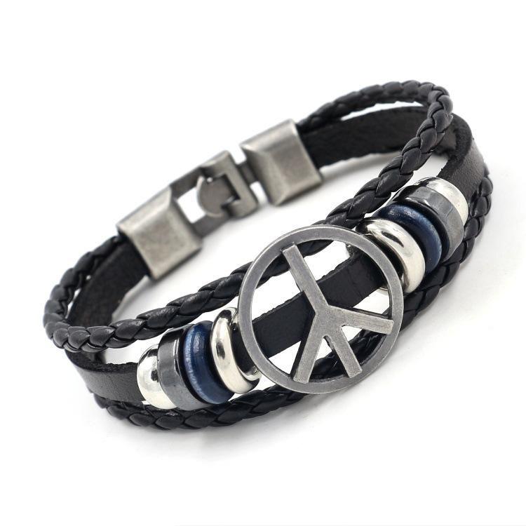 Fashion Peace Sign Studded Leather Bracelet NHHM132264