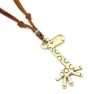 Vintage literary leather rope giraffe pendant necklace NHHM132266's discount tags