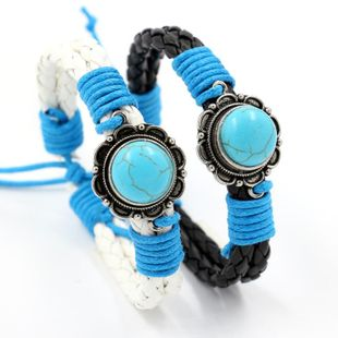 Vintage ethnic turquoise white PU leather rope woven bracelet NHHM132271's discount tags