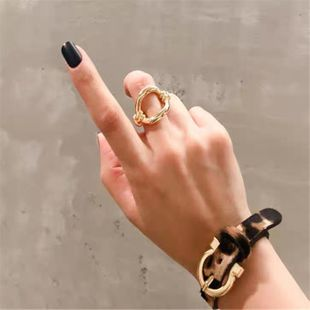 Wild twisted rope hollow brass openwork ring NHYQ132273's discount tags