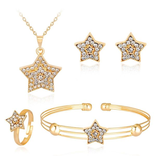 Classic full rhinestone star necklace earrings ring bracelet four-piece NHDR132272