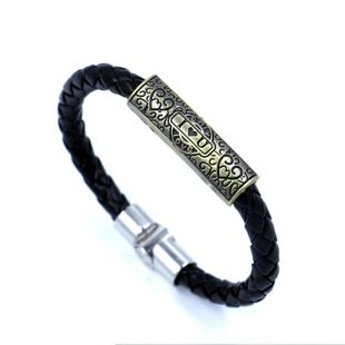 Punk lettering heart shaped love woven leather bracelet NHHM132277's discount tags