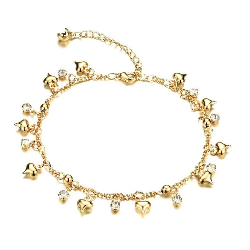 College wind cute girl bell hanging drill anklet bracelet NHOP132284