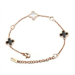 Fashion hollow heart lucky grass black and white bracelet NHOK132287's discount tags