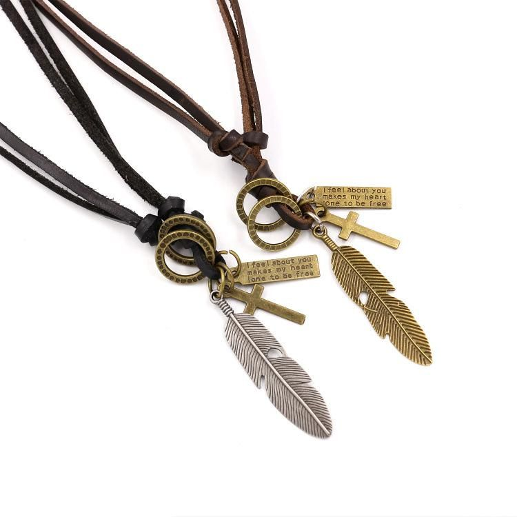 European and American popular alloy feather leather necklace NHHM132296