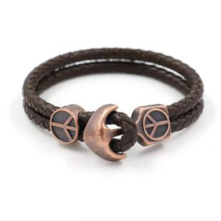 Fashion vintage peace anchor leather braided bracelet NHHM132322's discount tags