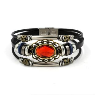 Vintage alloy leather bracelet NHHM132324's discount tags