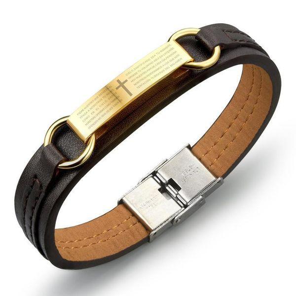 Spanish Bible Lord's Prayer Titanium Steel Alloy PU Leather Bracelet NHOP132331