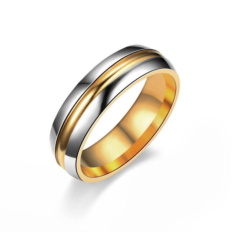 Simple titanium steel 18K alloy ring NHIM132337