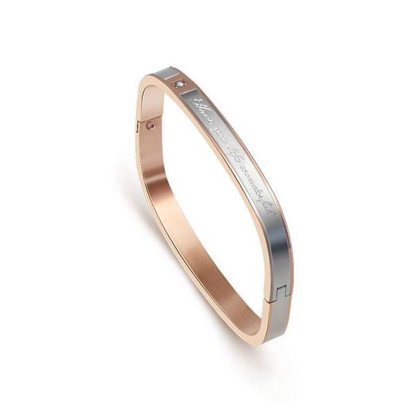 Fashion Square Micro Rhinestone Letter Bracelet NHOK132346