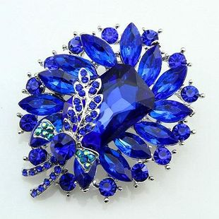 Blue glass stone butterfly collar alloy brooch NHDR132361's discount tags