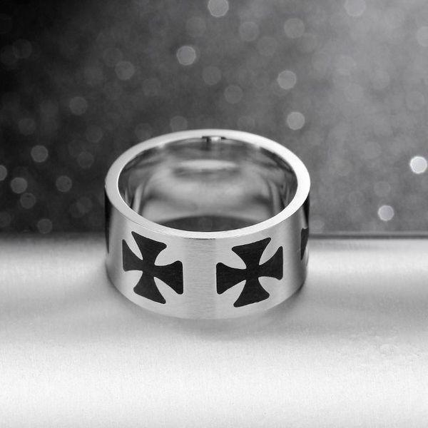 Fashion stainless steel cross ring NHIM132373