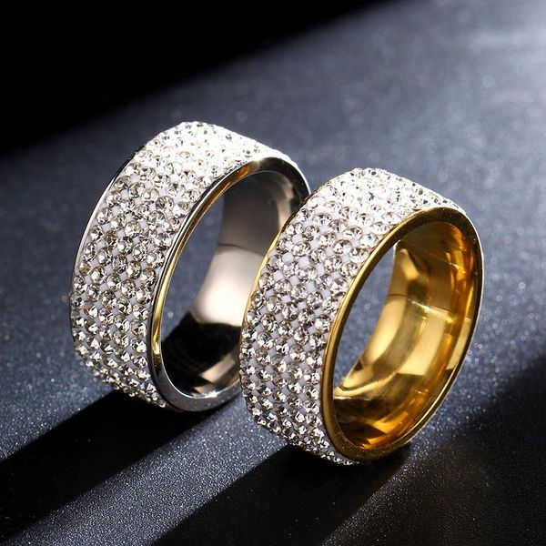 Fashion classic soft clay mud five rows of full rhinestone stainless steel ring NHIM132382