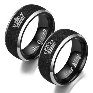 Fashion Titanium Steel Black Beads Sand Crown Ring NHTP132400's discount tags