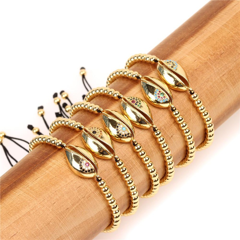 Fashion micro-set color zircon shell bracelet NHPY132401
