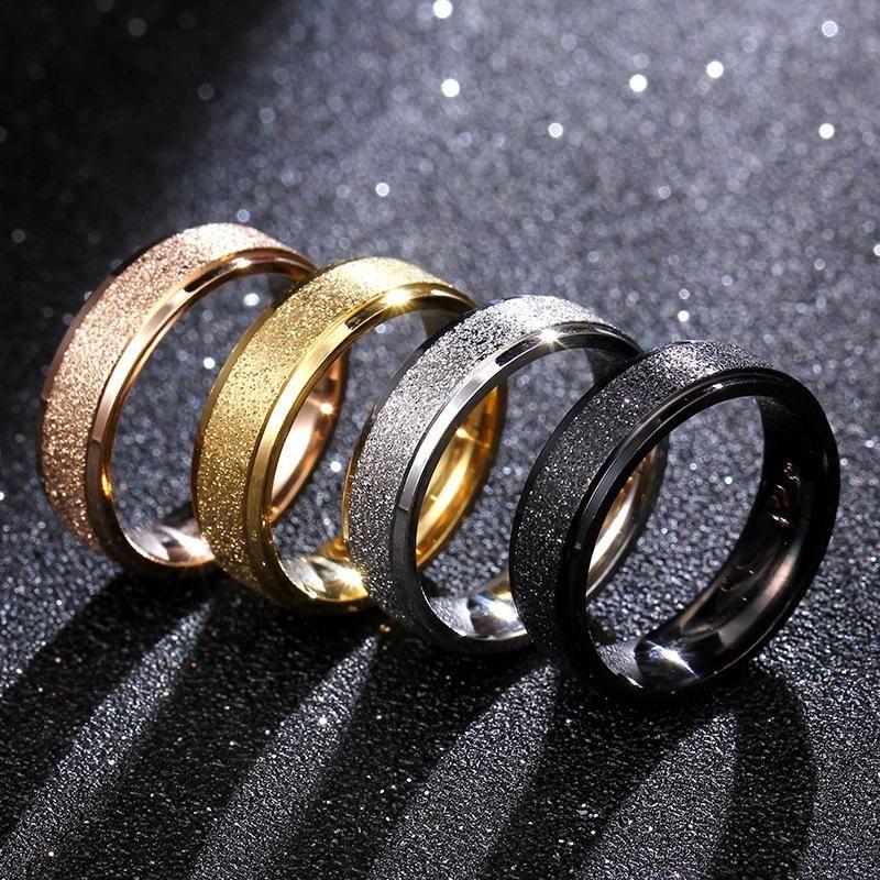 Simple titanium steel matte matte smooth ring NHIM132407