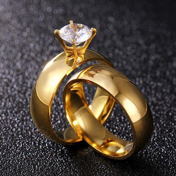 Anillo de pareja de diamante de acero de titanio europeo y americano. NHIM132413