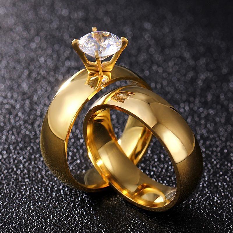 European and American titanium steel rhinestone couple ring NHIM132413