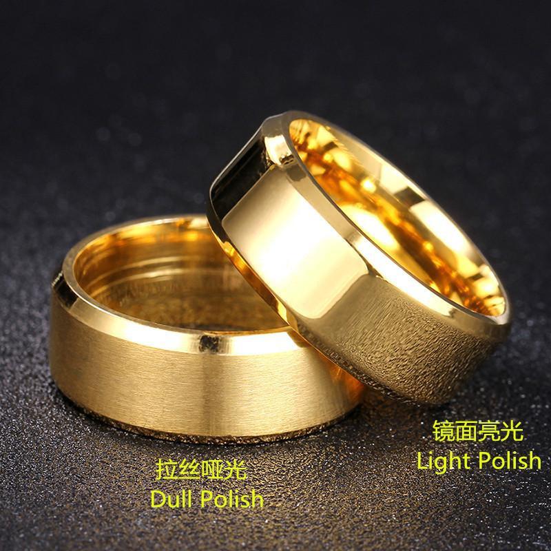 Fashion double beveled titanium steel ring NHIM132421