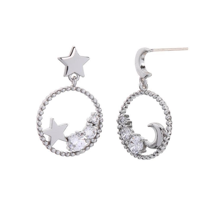 Retro Stars Moon Stud Earrings Asymmetric Large Hoop Earrings NHQD132438