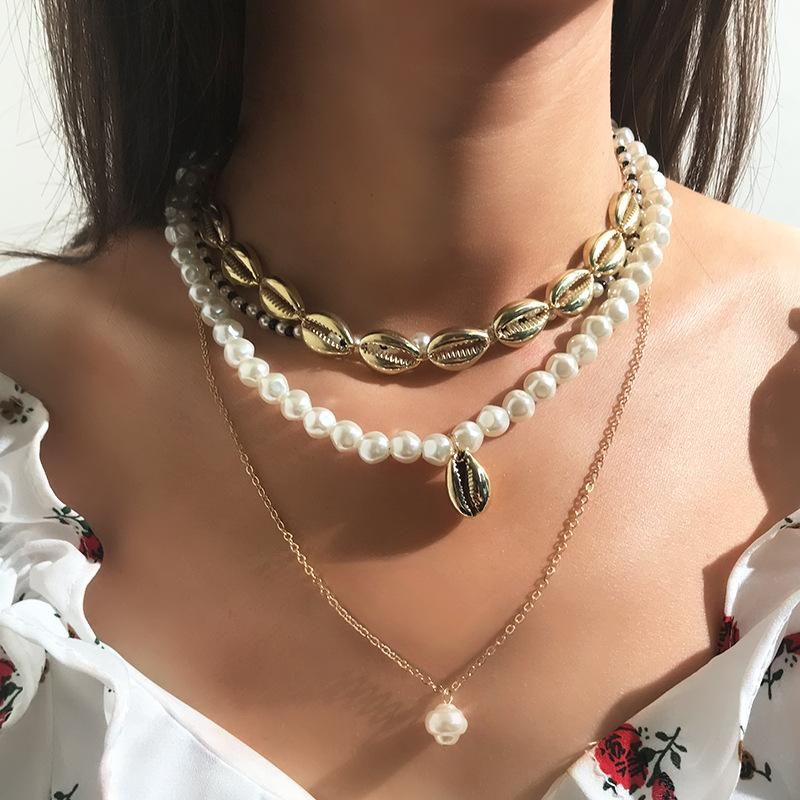 Fashion rice beads alloy beads shell multi-layer necklace NHNZ132470