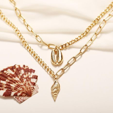 Creative Vintage Alloy Shell Conch Pendant Double Necklace NHPJ132506's discount tags
