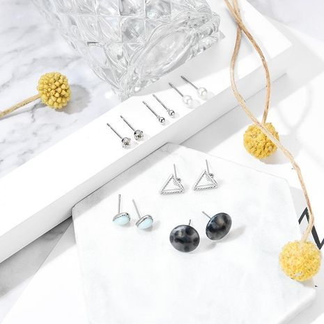 Creative Drop Shaped Geometrically Inverted Triangle Beads Stud Earring Set NHXS132511's discount tags