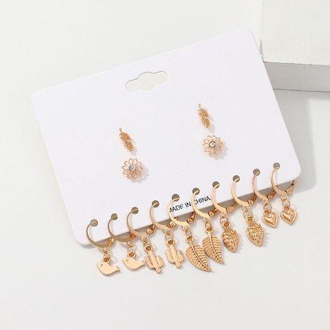 Creative Fashion Metal Cactus Leaf Earrings Set NHNZ132512's discount tags