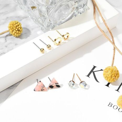 Fashion simple creative triangle geometry round alloy earrings set NHXS132516's discount tags