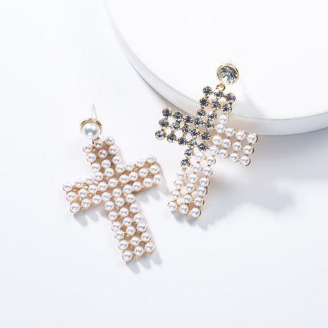 Fashion Beads Half Rhinestone Cross Earrings NHJE132520's discount tags