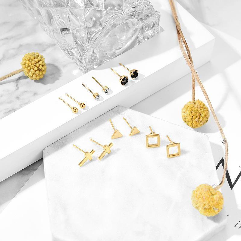 Fashion cross geometry alloy resin earrings set NHXS132531