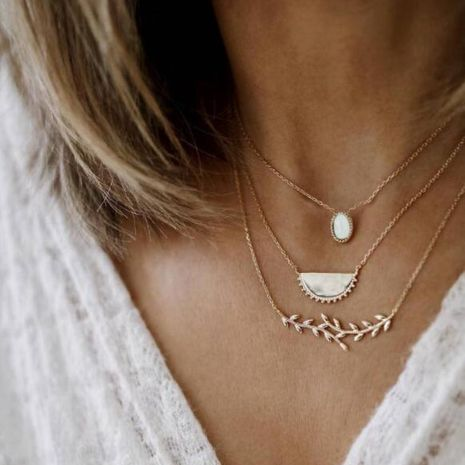 Fashion water droplets opal branches leaves semicircular geometric multilayer necklace NHGY132541's discount tags