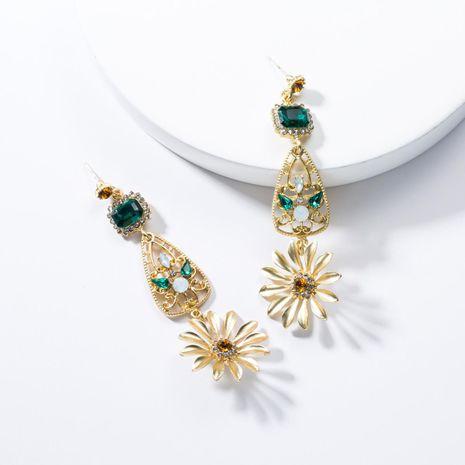 Temperament metal texture rhinestone flower earrings NHJE132542's discount tags