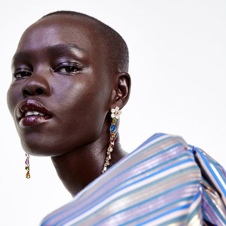 Womens Floral  Drop Shaped Rhinestone Alloy Earrings NHPJ132544's discount tags