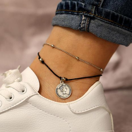 Creative retro simple human head seal 2 layer anklet bracelet NHPJ132551's discount tags