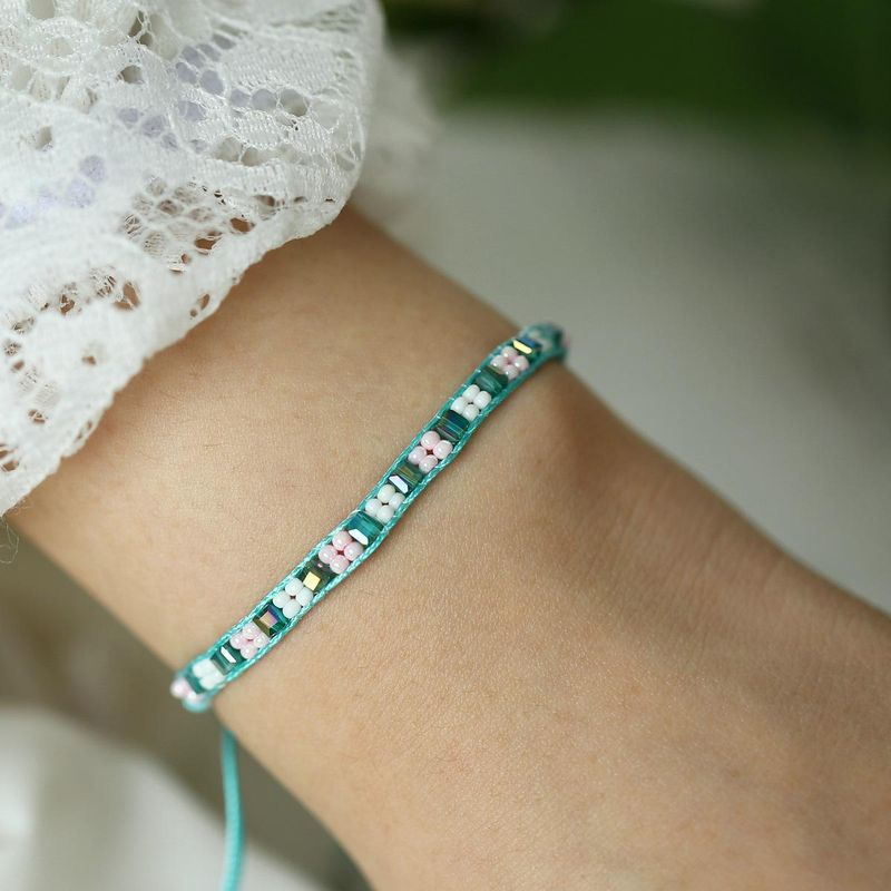 Creative retro minimalist inlaid green white rice beads push-pull bracelet NHPJ132553