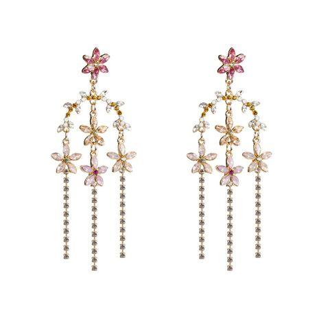 Fashion Acrylic Rhinestone Flower Tassel Earrings NHJE132554's discount tags