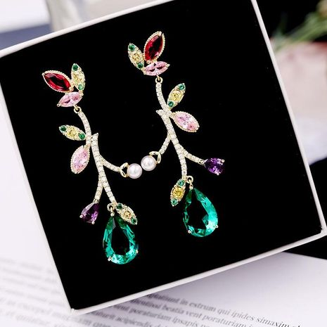 Colored inlaid zircon beads earrings NHDO132569's discount tags