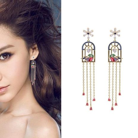 Colorful bird cage fringed long drop water retro court earrings NHDO132596's discount tags