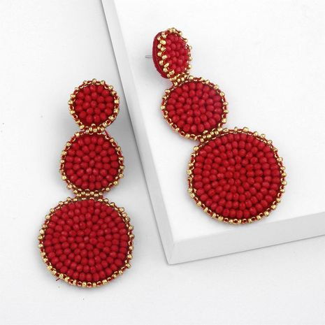 Fashion-shaped round mosaic rice beads imitated crystal earrings NHAS132599's discount tags