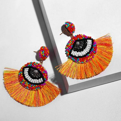 Womens Fan Shaped Rice Beads Tassels Other Earrings NHAS132601's discount tags