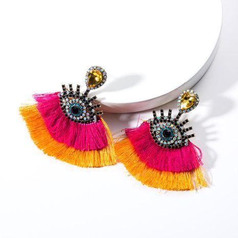 Vintage Acrylic Rhinestone Eye Double Tassel Earrings NHJE132603's discount tags