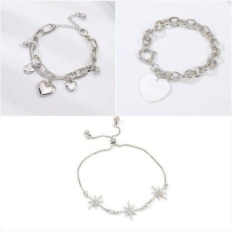 Trendy simple alloy rhinestone love hexagonal star bracelet NHNZ132605's discount tags