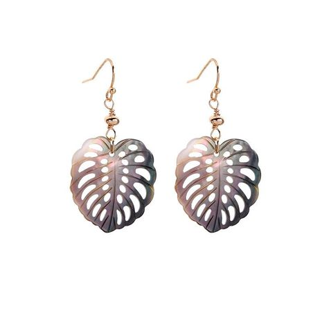 Summer fresh openwork leaves vintage shell earrings NHQD132607's discount tags