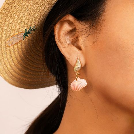 Fashion trend color shell conch alloy earrings NHGY132632's discount tags
