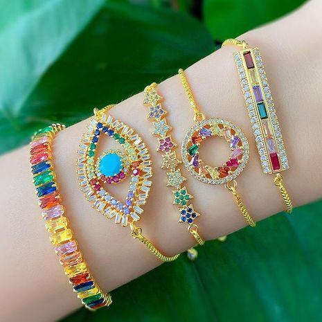 Fashion color zircon variety optional devil eye alloy bracelet NHAS132634's discount tags