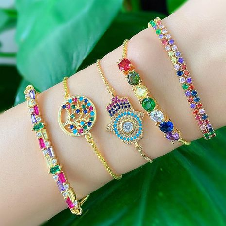 Irregular colorful zircon romantic alloy love alloy bracelet NHAS132637's discount tags